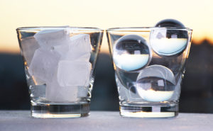 Compare artisan ice spheres to regular ice cubes - NYS -buffalo, rochester, NYC
